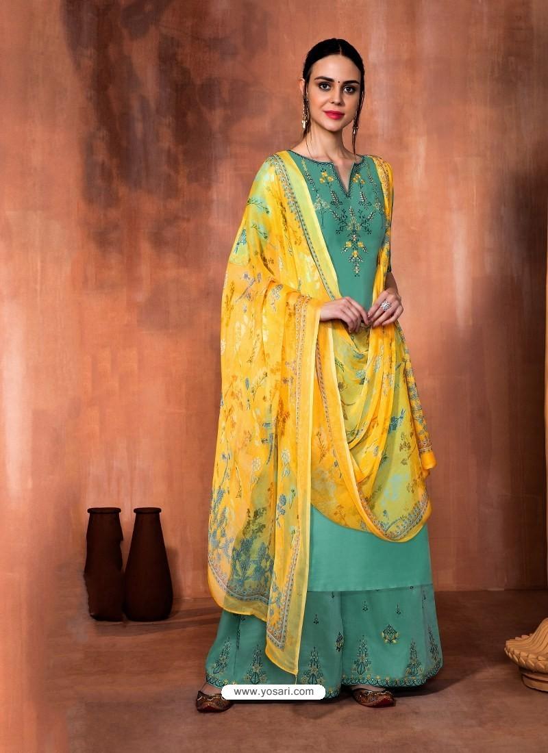 Aqua Mint Muslin Silk Embroidered Designer Palazzo Suit