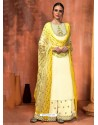 Off White Muslin Silk Embroidered Designer Palazzo Suit