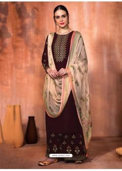 Deep Scarlet Muslin Silk Embroidered Designer Palazzo Suit