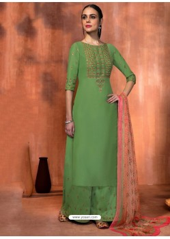 Green Muslin Silk Embroidered Designer Palazzo Suit