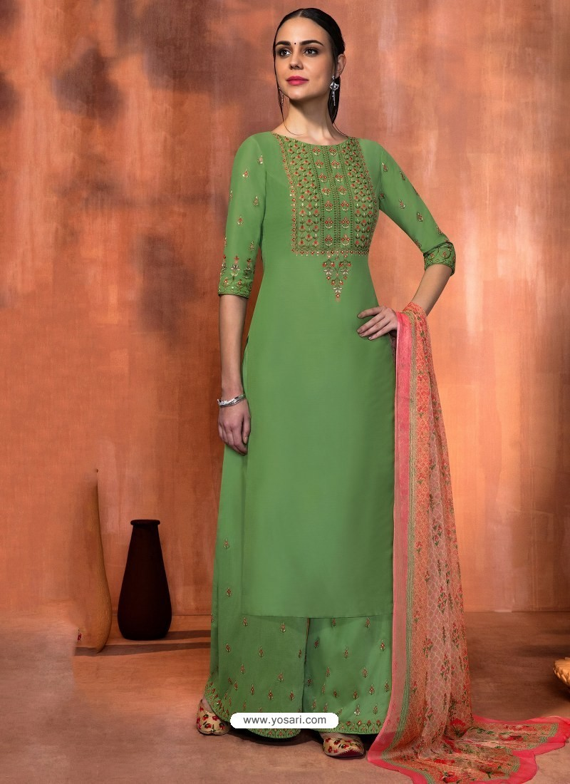ebcba83a13 Buy Green Muslin Silk Embroidered Designer Palazzo Suit | Palazzo ...