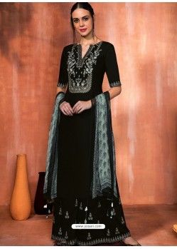Gorgeous Black Muslin Silk Embroidered Designer Palazzo Suit