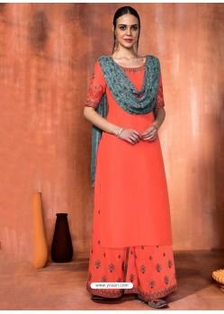 Dark Peach Muslin Silk Embroidered Designer Palazzo Suit