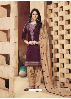 Deep Wine And Beige Pure Cotton Satin Designer Salwar Suit