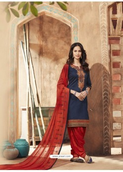 Navy Blue And Red Pure Cotton Satin Designer Salwar Suit