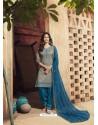 Grey And Teal Blue Pure Cotton Satin Designer Salwar Suit