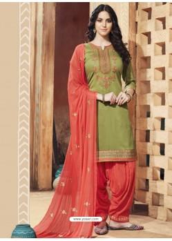 Green And Light Red Pure Cotton Satin Designer Salwar Suit