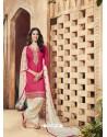 Rani And Off White Pure Cotton Satin Designer Salwar Suit