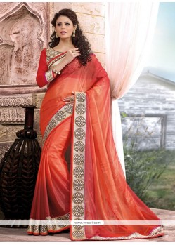 Charming Red Shimmer Georgette Wedding Saree