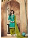 Teal And Green Pure Cotton Satin Designer Salwar Suit