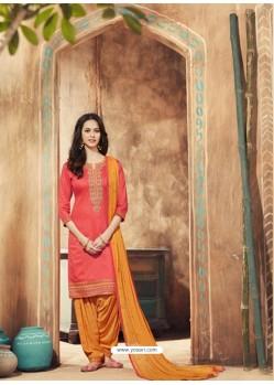 Dark Peach And Orange Pure Cotton Satin Designer Salwar Suit