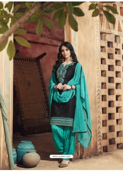 Black And Turquoise Pure Cotton Satin Designer Salwar Suit