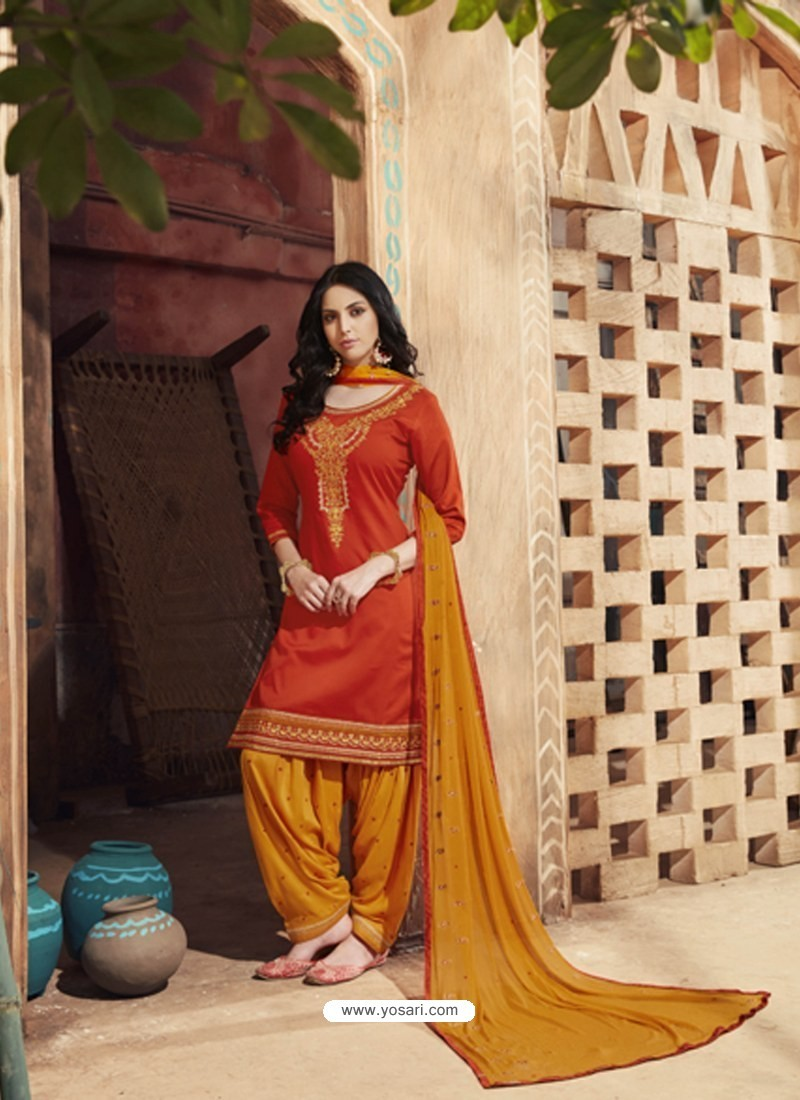 Orange Pure Cotton Satin Designer Salwar Suit
