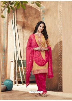 Cream And Pink Pure Cotton Satin Designer Salwar Suit