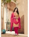 Cream And Pink Pure Cotton Satin Designer Salwar Suit