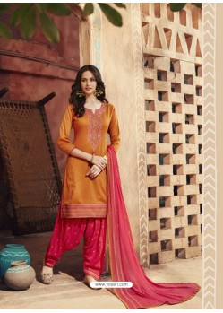 Rust And Pink Pure Cotton Satin Designer Salwar Suit