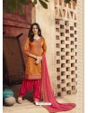 Rust And Pink Pure Cotton Satin Designer Salwar Suit