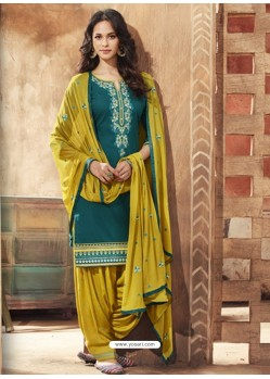 Teal And Corn Pure Cotton Satin Designer Salwar Suit