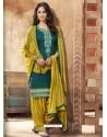 Teal And Corn Pure Cotton Satin Designer Salwar Suit