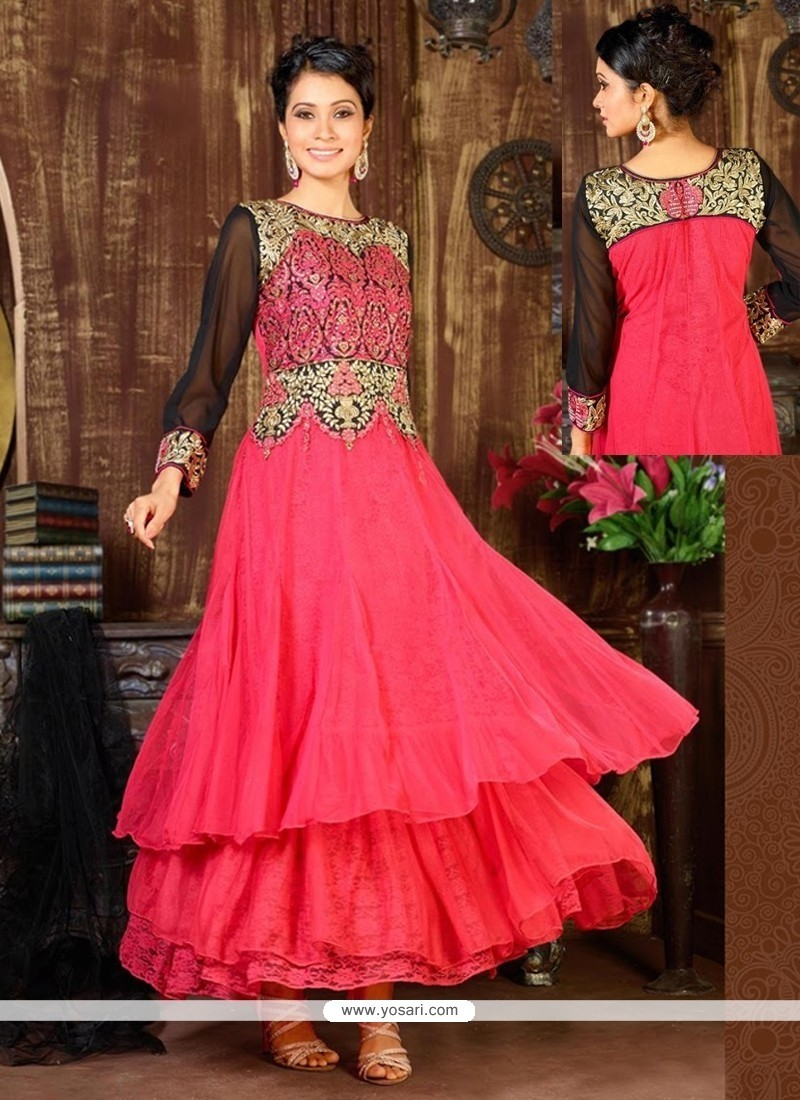 Celestial Hot Pink Embroidery Work Anarkali Suit