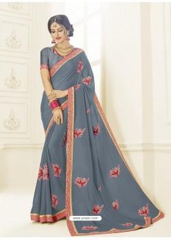 Grey Bright Georgette Heavy Embroidered Designer Saree