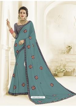 Turquoise Bright Georgette Heavy Embroidered Designer Saree