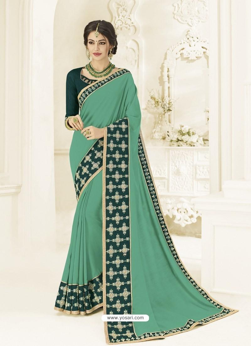 Jade Green Silk Fabrics Heavy Embroidered Designer Saree