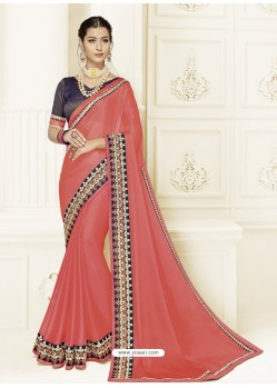 Light Red Two Tone Chiffon Heavy Embroidered Designer Saree