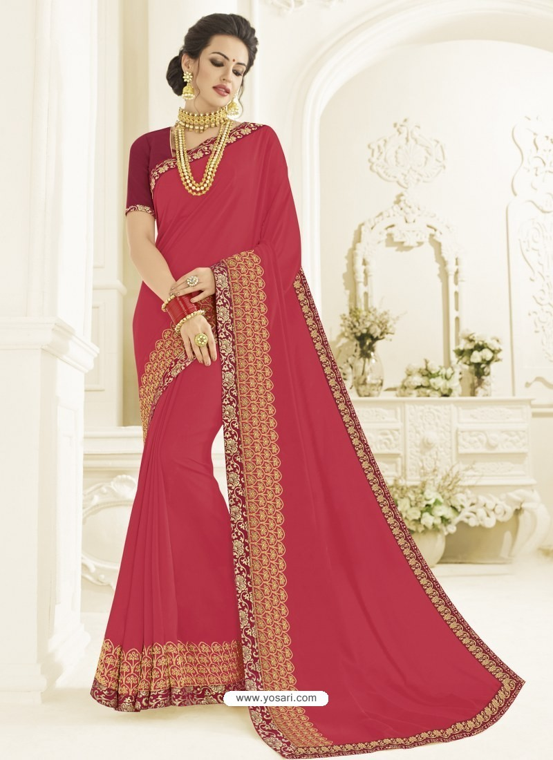Crimson Silk Fabrics Heavy Embroidered Designer Saree