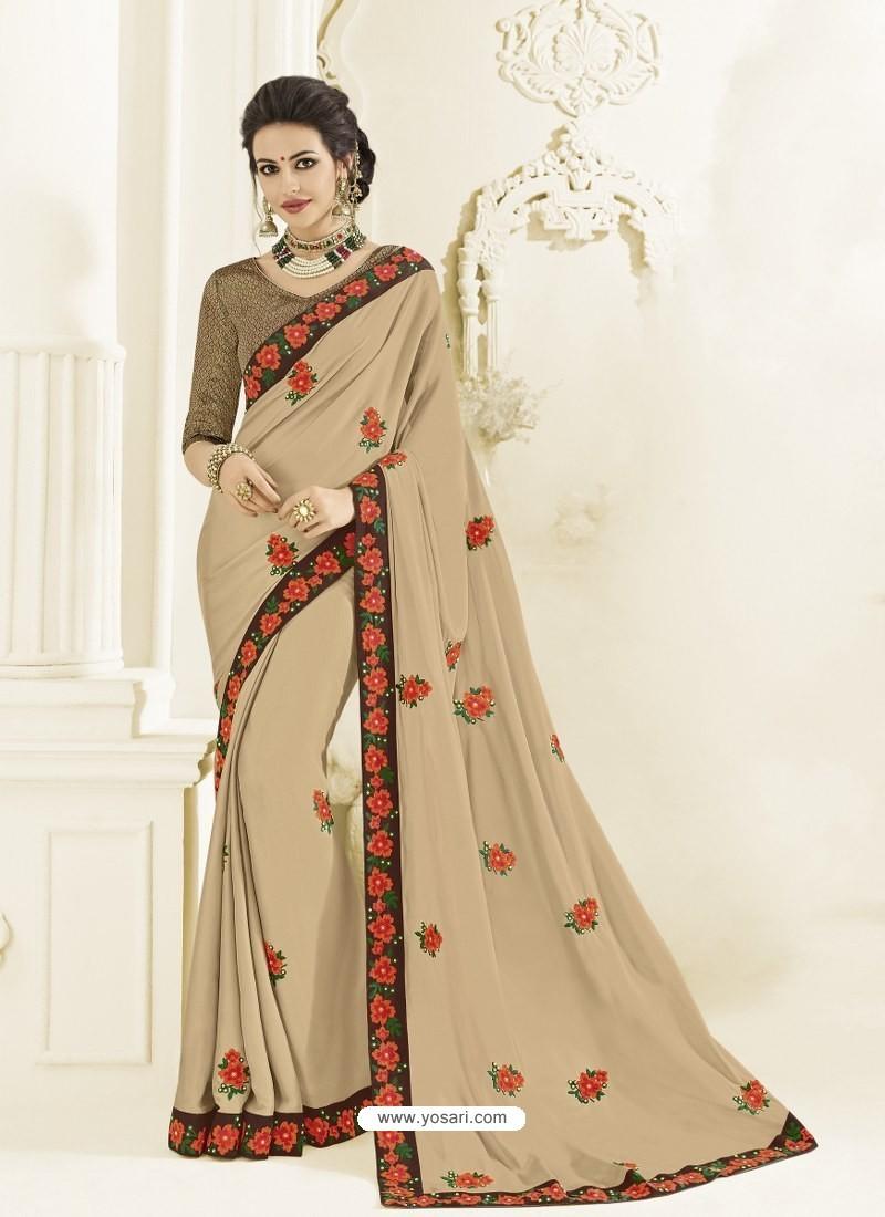 Light Beige Bright Georgette Heavy Embroidered Designer Saree
