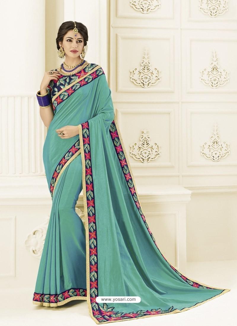 Aqua Mint Two Tone Silk Heavy Embroidered Designer Saree