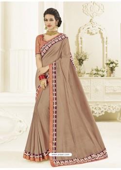 Light Brown Two Tone Silk Heavy Embroidered Designer Saree