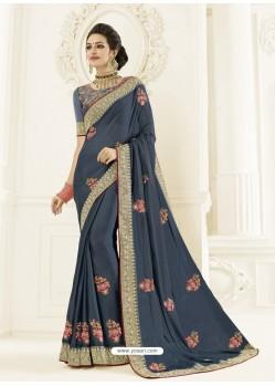 Dull Grey Bright Georgette Heavy Embroidered Designer Saree