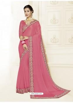 Light Pink Moss Chiffon Heavy Embroidered Designer Saree