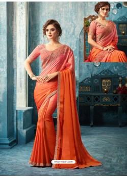 Orange And Light Pink Silk Designer Party Wear Saree