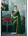 Dark Green Silk Designer Party Wear Saree