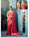 Pink And Fucshia Silk Designer Party Wear Saree