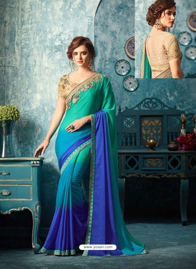 Jade Green And Blue Silk Designer Party Wear Saree