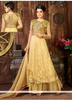 Elite Cream Net And Jacquard Anarkali Suit