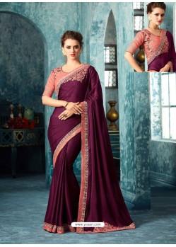 Deep Scarlet Silk Designer Party Wear Saree