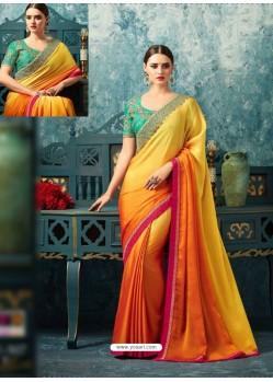 Yellow And Orange Silk Designer Party Wear Saree