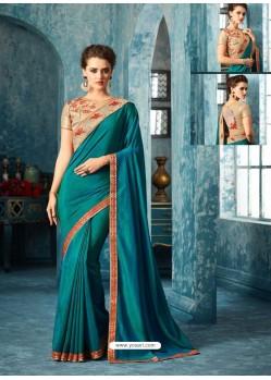 Teal Silk Designer Party Wear Saree