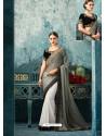 Grey And White Silk Designer Party Wear Saree