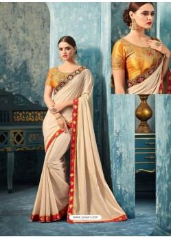 Off White Silk Designer Party Wear Saree