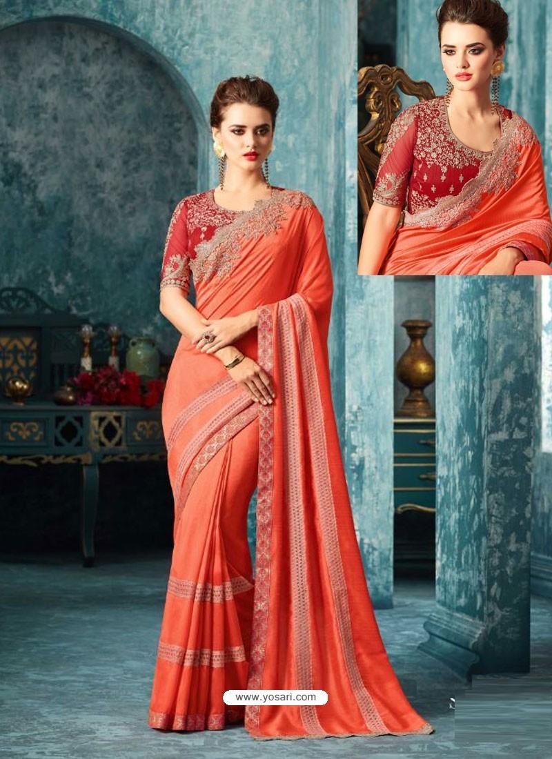 Orange Silk Designer Party Wear Saree