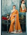 Yellow Silk Designer Party Wear Saree