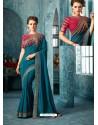 Teal Blue Silk Designer Party Wear Saree