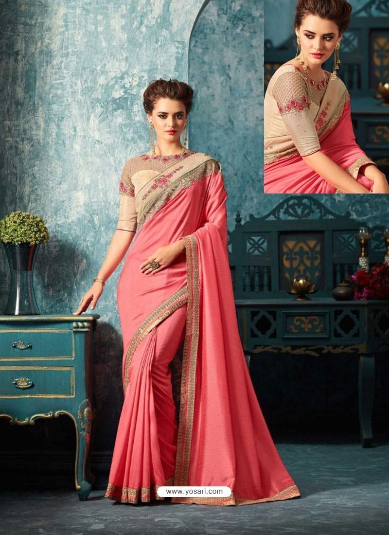 Pink Silk Designer Party Wear Saree