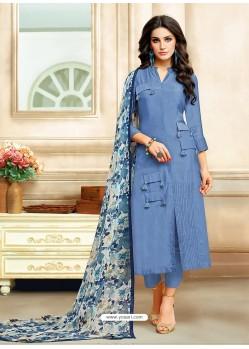Blue Embroidered Chanderi Cotton Designer Straight Suit