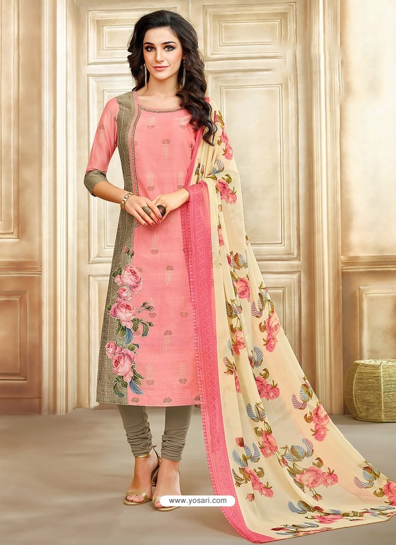Peach And Taupe Embroidered Chanderi Cotton Designer Churidar Suit